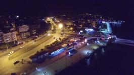 Lapseki İskelesinin Gece Havadan Görünümü