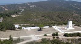 Gelibolu Yarımadası'nda Arıburnu Bölgesindeki Avustralya Anıtının Havadan Görünümü