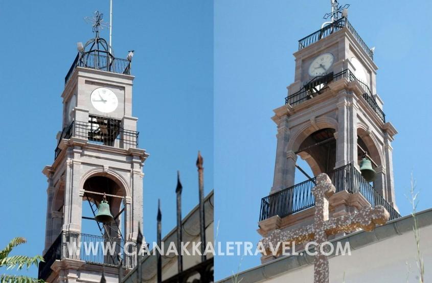 Bozcaada'da 151 Yıllık Kilisenin Çan Saati Kulesi Restore Edildi