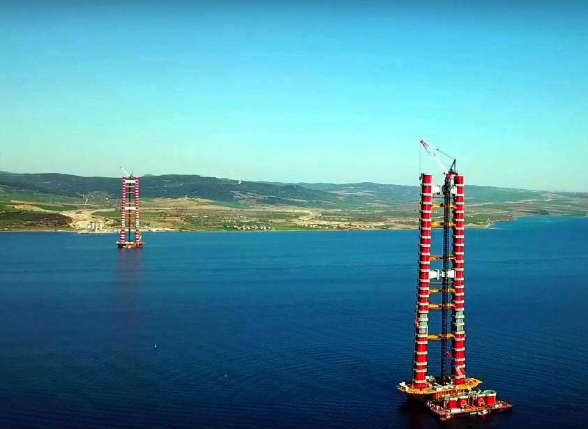 Çanakkale Boğaz Köprüsü'nün 318 Metrelik Ayakları Tamamlandı