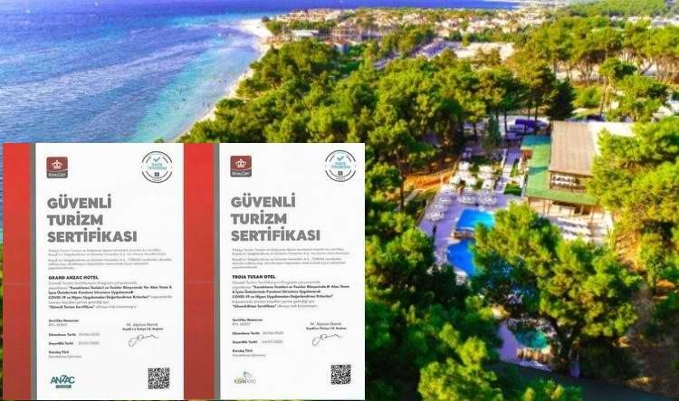 """Troia Tusan ve Anzac Hotelleri Artık """"Güvenli Turizm"""" Sertifikalı"""